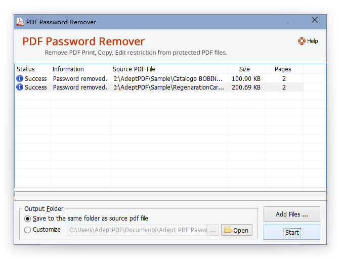 Adept PDF Password Remover Screen shot